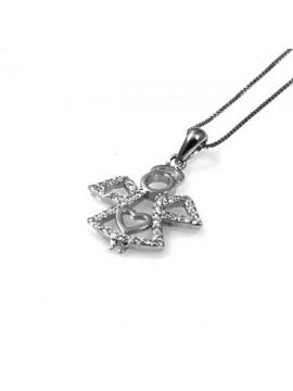 collana con ciondolo pendente angioletto in argento e strass