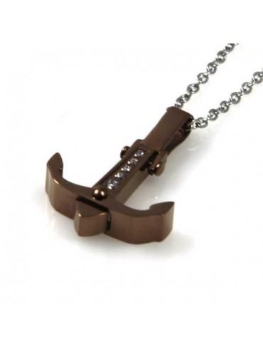 collana con ciondolo pendente ancora in acciaio e strass