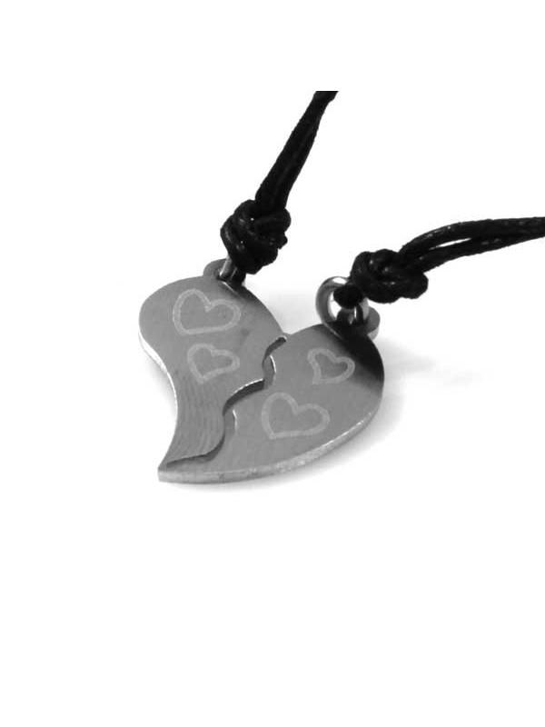 collana con ciondolo pendente cuore che si spezza in acciaio