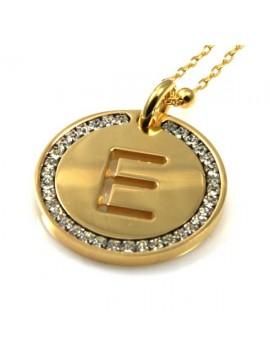 collana con lettera iniziale e in bronzo dorato e strass a cerchio