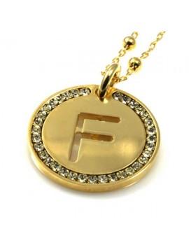collana con lettera iniziale f in bronzo dorato e strass a cerchio
