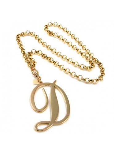 collana con ciondolo pendente lettera d o iniziale dorata