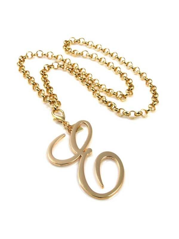 collana con ciondolo pendente lettera e o iniziale dorata