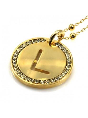 collana con lettera iniziale l in bronzo dorato e strass a cerchio