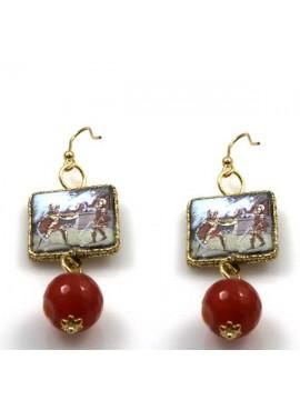 orecchini con scene siciliane in pietra lavica e argento 925