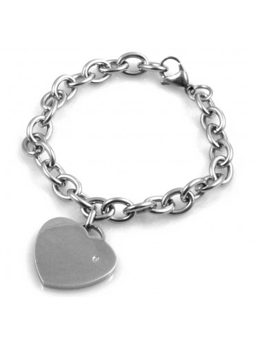 bracciale donna con cuore catena forzatina in acciaio