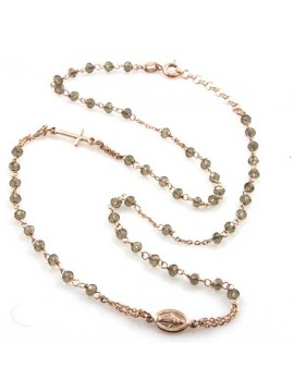 collana rosario in argento 925 cristalli effetto oro