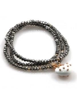 bracciale collana elastico con cristalli e ciondolo cuore - bcc1384