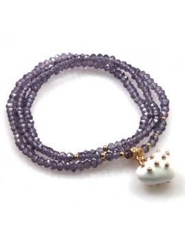 bracciale collana elastico con cristalli e ciondolo cuore - bcc1382