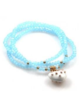 bracciale collana elastico con cristalli e ciondolo cuore - bcc1380