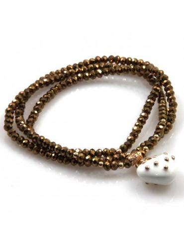 bracciale collana elastico con cristalli e ciondolo cuore - bcc1381