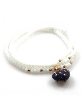 bracciale collana elastico con cristalli e ciondolo cuore - bcc1379