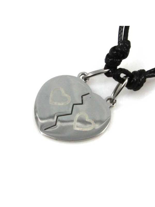collana cuore che si spezza in acciaio ciondolo pendente