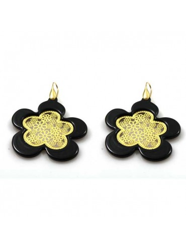 orecchini a forma di fiore in bronzo e resina pendenti
