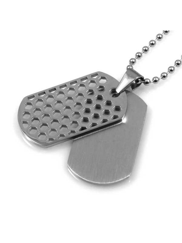 collana con doppia piastra da incidere in acciaio ciondolo pendente