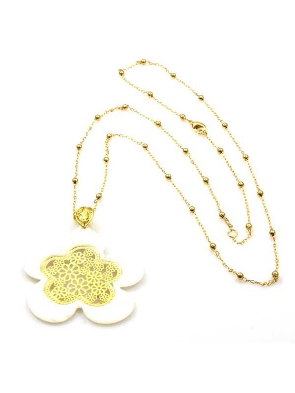 collana a fiore in bronzo dorato e resina