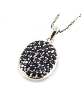 Collana ovale in argento 925 con strass neri