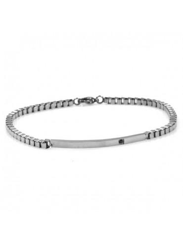bracciale con piastra e strass sottile catena grumetta quadrata