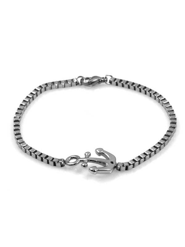 bracciale con ancora in acciaio catena grumetta quadrata