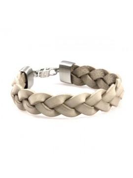 bracciale in pelle beige chiara intrecciata chiusura in acciaio