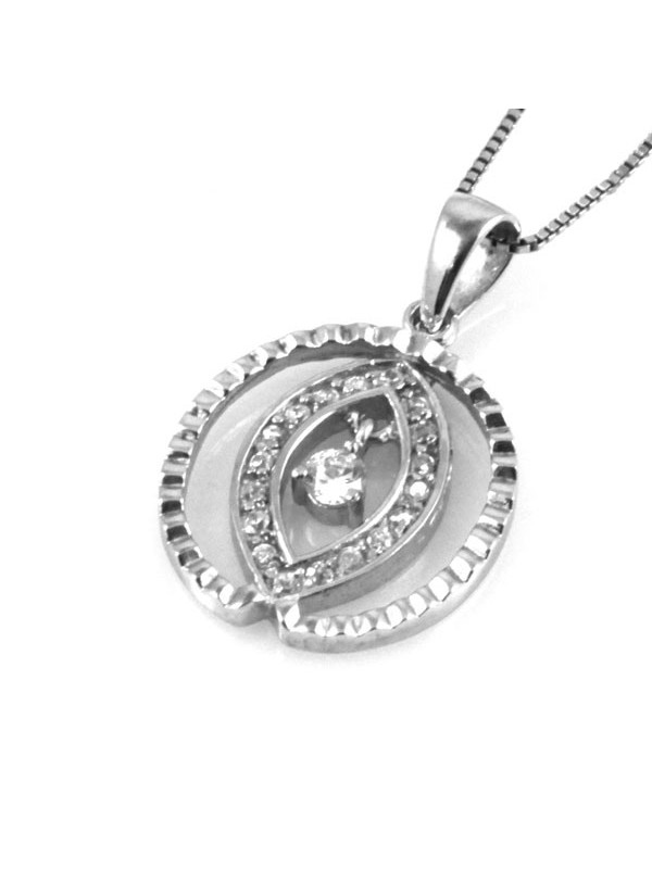 Collana ovale in argento 925 con strass