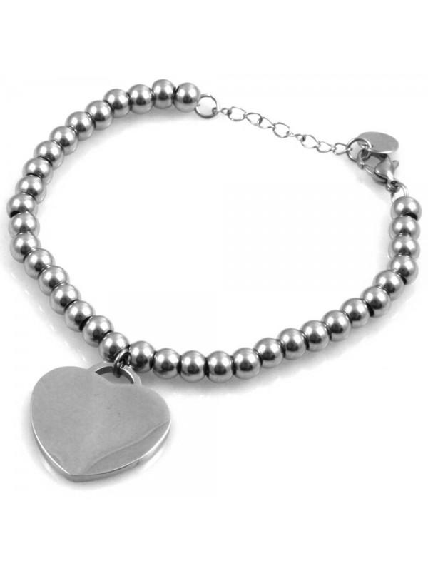 bracciale donna con cuore catena a palline sferiche in acciaio