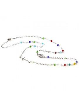 collana rosario in argento 925 postine colorate in cristallo sfaccettato