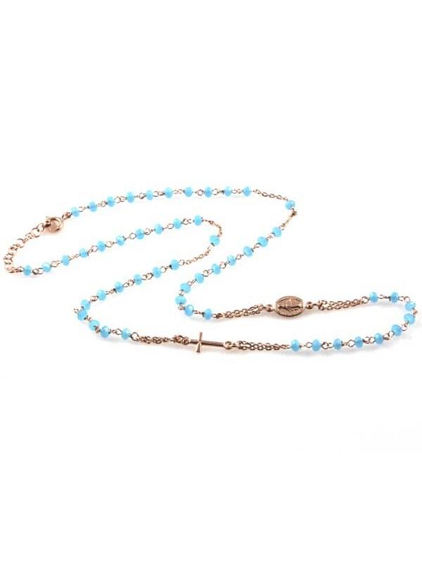 collana rosario in argento 925 ranmato postine celesti in cristallo sfaccettato