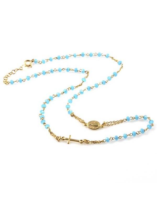 collana rosario in argento 925 dorato postine celesti in cristallo sfaccettato