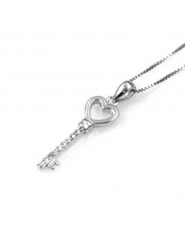 collana con chiave a forma di cuore ciondolo pendente in argento 925