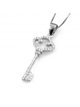 collana con chiave ciondolo pendente in argento 925