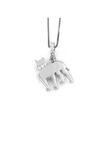 collana con mastino cane ciondolo pendente in argento 925