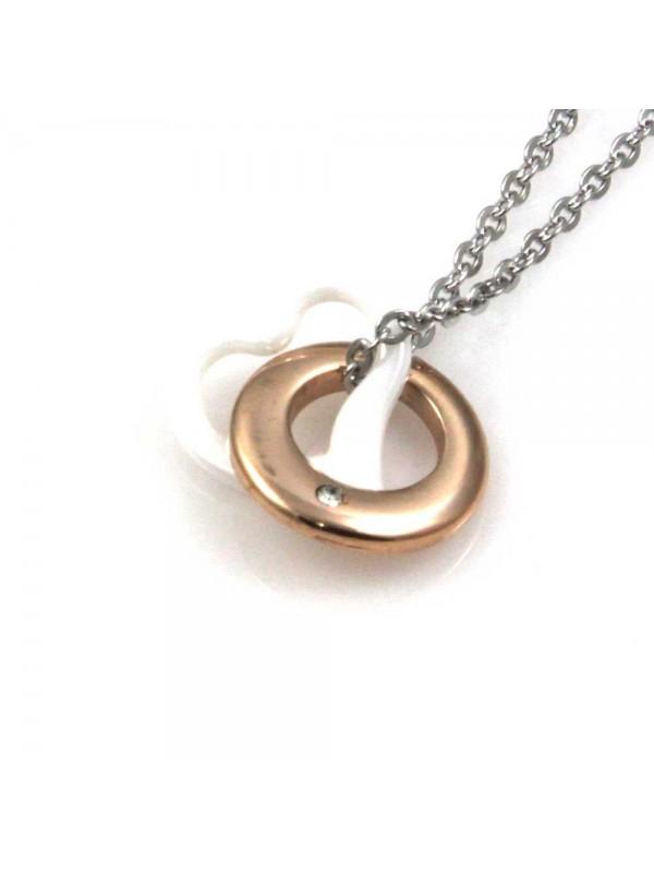 collana con cuore e cerchio ciondolo pendente in acciaio ceramica e strass