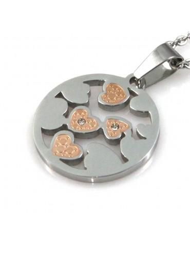 collana con cuoricini ciondolo rotondo pendente in acciaio