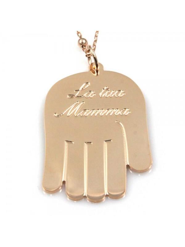 collana con mano scritta la tua mamma in bronzo ramato