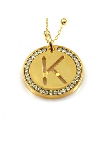 collana con lettera k iniziale ciondolo pendente in bronzo dorato