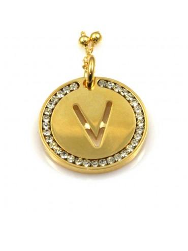 collana con lettera v iniziale ciondolo pendente in bronzo dorato