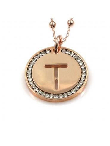 collana con lettera t iniziale ciondolo pendente in bronzo ramato