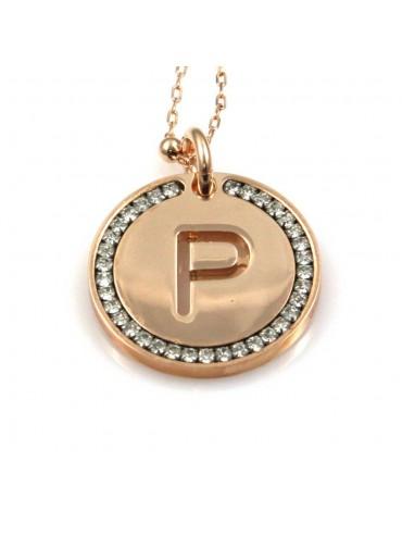 collana con lettera p iniziale ciondolo pendente in bronzo ramato