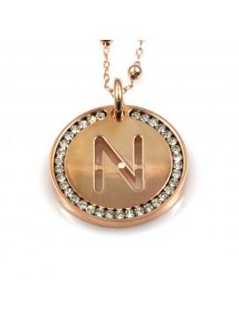 collana con lettera n iniziale ciondolo pendente in bronzo ramato