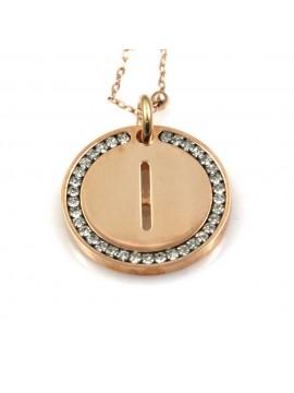 collana con lettera i iniziale ciondolo pendente in bronzo ramato