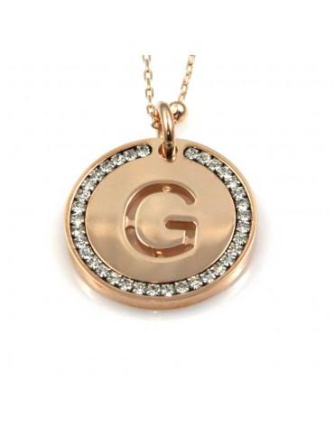 collana con lettera g iniziale ciondolo pendente in bronzo ramato
