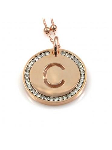 collana con lettera c iniziale ciondolo pendente in bronzo ramato