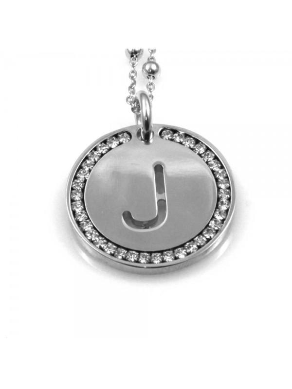collana con lettera j iniziale ciondolo pendente in bronzo argentato
