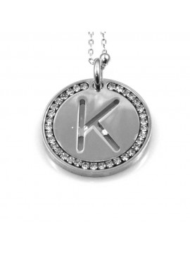 collana con lettera k iniziale ciondolo pendente in bronzo argentato