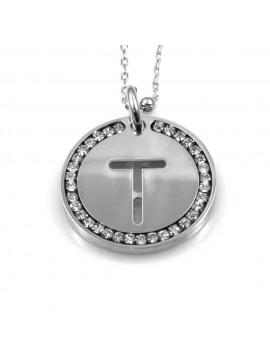 collana con lettera t iniziale ciondolo pendente in bronzo argentato