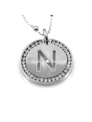 collana con lettera n iniziale ciondolo pendente in bronzo argentato