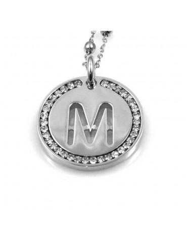 collana con lettera m iniziale ciondolo pendente in bronzo argentato