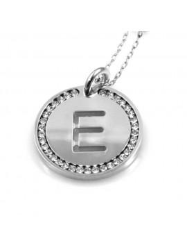 collana con lettera e iniziale ciondolo pendente in bronzo argentato