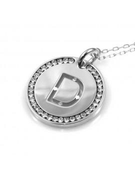 collana con lettera d iniziale ciondolo pendente in bronzo argentato